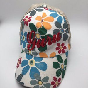 Guru Clothing Brand Hat Cap Flowers White Yellow